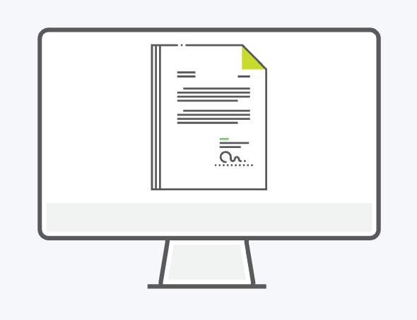 Illustration of a desktop computer with file unlocked